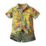 3 Pezzi Completo Estivo Bambino Set Camicia Manica Corta Stampa Hawaiana Floreale+Maglietta Tinta Unita+Pantaloncini da Spiaggia Mare Vacanze (Giallo, 5-6 Anni)