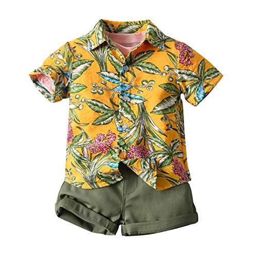 Juego de 3 piezas de verano para niño, camisa de manga corta, impresión hawaiana floral + camiseta de color liso + pantalones cortos de playa, vacaciones amarillo 12-18 Meses