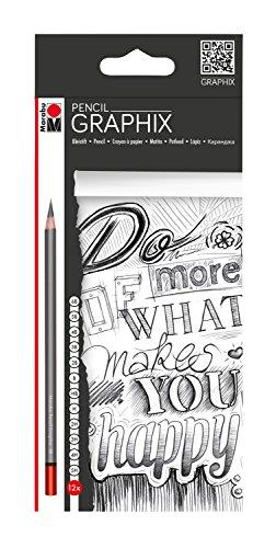 Marabu 0144000000100 - Pencil Graphix, 12 bruchgeschützte Bleistifte in verschiedenen Härtegraden, in Holz gefasst, sehr ergiebige Mine, ideal für Illustrationen, Skizzen und Zeichnungen