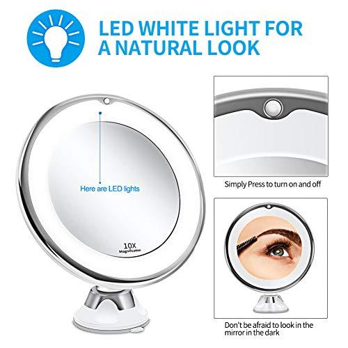 TYOLOMZ LED 10x Vergrootglas Verlichte Make-up Spiegel Warm LED Tap Badkamer Vanity Spiegel Draadloos & Compact Spiegel