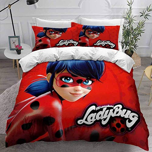 POMJK Miraculous Ladybug Bed Linen Set Duvet Cover 2 Pillow Cases, Ladybug Duvet Cover, 100% Microfibre, 3D Digital Print (A01, King 220 x 240 cm + (50 x 75 cm) × 2)