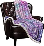 Sherpa Mermaid Fleece Blanket,Ombre Mermaid Charming Fish Scale Bed Blanket Soft Cozy Luxury Blanket 40'x50',Fuzzy Thick Reversible Super Warm Fluffy Plush Microfiber Throw Blanket for Couch