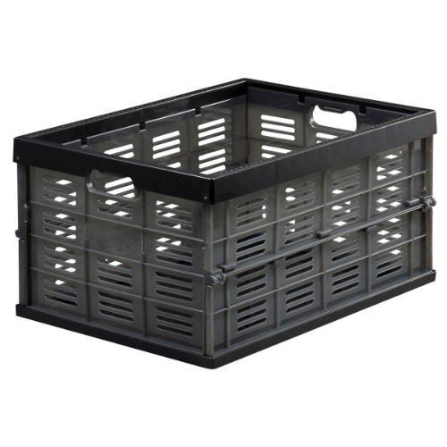 JEJアステージ 収納ボックス 日本製 折りたたみ式 コンテナ 積み重ね 目盛り付き スモークブラック NM-35 [幅35×奥行49×高さ25cm]