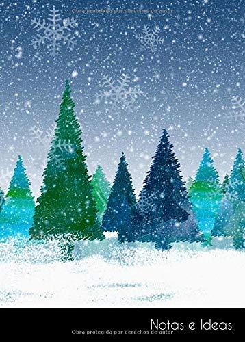 Notas e Ideas: Cuaderno / diario pequeño navidad invierno abeto bosque nieve...