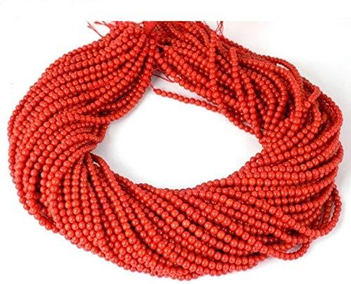 Shree_Narayani Cuentas sueltas de coral rojo de alta calidad Strand Smooth Round Ball 3.5mm 15