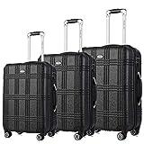 Travel Joy Expandable Luggage Set, Suitcases TSA Lightweight Spinner Hardside Luggage Sets, Carry On Luggage (BLACK, 3 pcs set(20'24'28'))