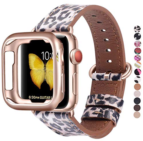 JSGJMY Leather Band Compatible with Apple Watch 38mm 40mm 42mm 44mm Women Men Strap for iWatch SE Series 6 5 4 3 2 1(Leopard with Rose Gold Clasp,38mm/40mm S/M)