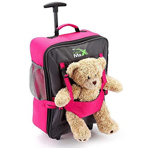 Cabin Max Bear, trolley da viaggio per bambini, con cinghie esterne per bambole/peluche- rosa Dim: 50hxL34xP20, Peso: 1,1kg
