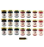 Mrs. Miller's Mini 7 FLAVOR BERRIES, Jams and Jellies, Sampler, 1.5 oz. Pack of 21 (3 of ea) Blackberry, Black Raspberry, Blueberry, Cherry, Elderberry, Raspberry & Strawberry with a Jarosa Lip Balm