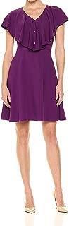 Lark & Ro Womens Dress Purple US Size Medium M Ruffled V-Neck A-Line