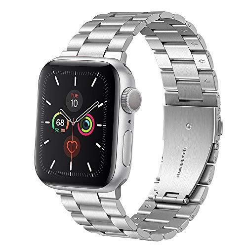Coholl Correa de Metal de Acero Inoxidable Compatible con Apple Watch Series 1/2/3/4/5 Correa de Reloj iWatch 38 / 40mm y 42 / 44mm(Plata,42/44mm)