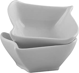 Porcelain Cereal/Soup/Salad/Dessert Bowl Set of 6, Square wave shape, White