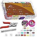 BSET BUY 200 Set Hohle Feste Druckknöpfe Set 9,5 mm, 10 Farben Spielanzug Snaps ZangeSchnalle Metall Ring Button für Baby Kinderbekleidung Sewing Craft