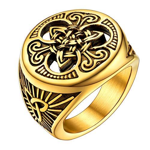 U7 Triquetra Viking Ring Vintage Enamel Black 18K Real Gold Plated Enternal Love Celtic Knot Signet Ring for Men Wome, Size 10