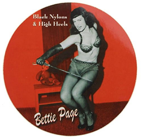 Bettie Page Sticker - 8cm- black nylons and high heels