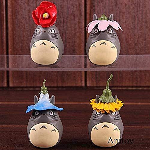 LWH-MOU Mi Vecino Totoro Figura de acción Season Flower Ver. PVC Hayao Miyazaki Studio Ghibli Toys Coleccionable Modelo de Juguete 4pcs / Set