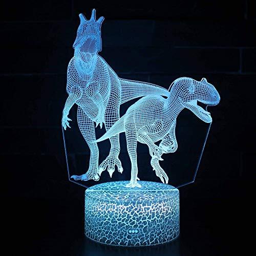 3D ilusión noche luz para niños regalo de cumpleaños dinosaurio 16 colores cambiantes lámpara de escritorio nueva 3D LED noche luces LED táctil remoto y 16 colores cambiables