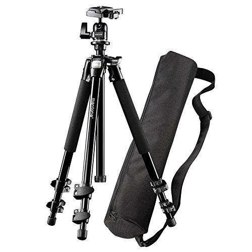 Mantona Basic Scout Set Fotostativ, Kamerastativ bis 144cm, + Tragetasche, Kugelkopf, Wasserwaage, umkehrbare Mittelsäule, für Reisen und Outdoor Fotografie für DSLR Kamera, kompakt leichtes Stativ