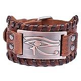 VASSAGO - Pulsera de cuero marrón con conector de metal Pagan Egipto Pagan Mal de Ojo de...