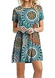 Yming, maglia lunga da donna, stile casual, a maniche corte, 24 colori, XXS-XXXXXL (38-56) Anello dell'anno blu. XXXXL