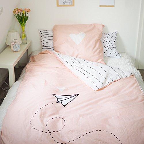 Odernichtoderdoch Bettwäsche Rosa Papierflieger - Baumwolle - 135 x 200 cm - 80 x 80 cm