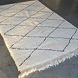Tapis marocain Beni ourain Berber - Tapis oriental - 100 % laine naturelle tissée à la main - Forme...