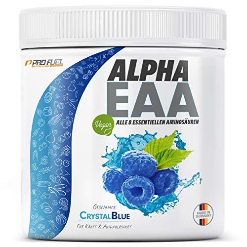 ALPHA EAA Pulver 462g | Alle 8 essentiellen Aminosäuren | Vegan EAAs Aminosäuren Pulver | Amino Workout Drink | MADE IN GERMANY | Optimale Wertigkeit | Leckerer Geschmack (Blaue Himbeere)