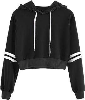 Amlaiworld Sudadera con Capucha a Rayas con Capucha para Mujer Camiseta Deportiva Varsity Mujer Jersey de Manga Larga Pull...