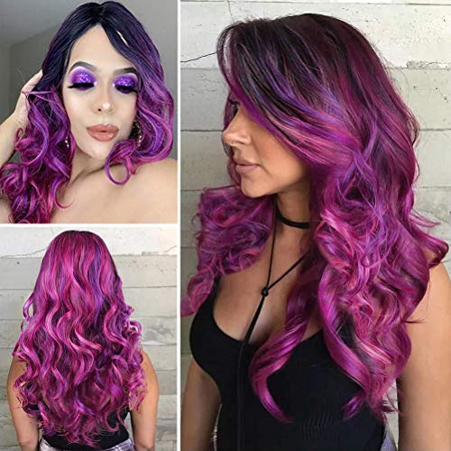 Sallcks Colorful Wig Long Curly Wavy Ombre Rose Red Mixed Purple Middle Part wig Synthetic Cosplay Costume Wigs for Women Girls