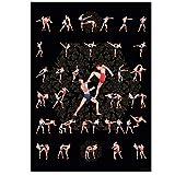 GREAT ART – Póster de Muay Thai n° 5 – Diferentes poses en DIN A2 59.4 x 42 cm Entrenamiento de artes marciales Dojo Boxeo Codos y rodillas Ataques golpes Defensa Tailandia