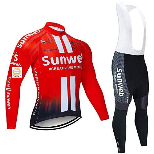 Bike Tute da Uomo con Pantalone con Bretelle Imbottite in Gel per Abbigliamento da Ciclismo di Squadra, Abbigliamento Invernale per Ciclismo Termico