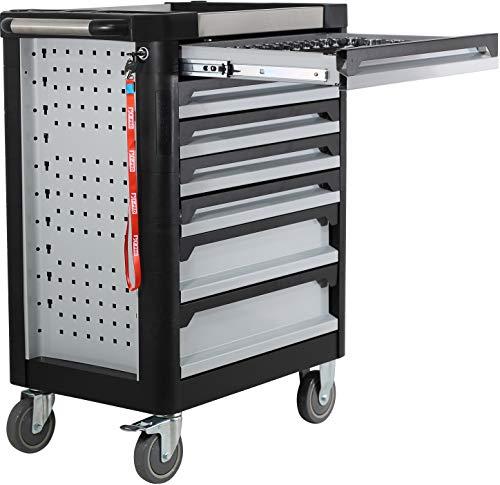 Ultra Edition Werkstattwagen | 7 Schubladen – 5 gefüllt mit Handwerkzeug | Werkzeugwagen abschließbar + COB Akku Arbeitsleuchte - 8