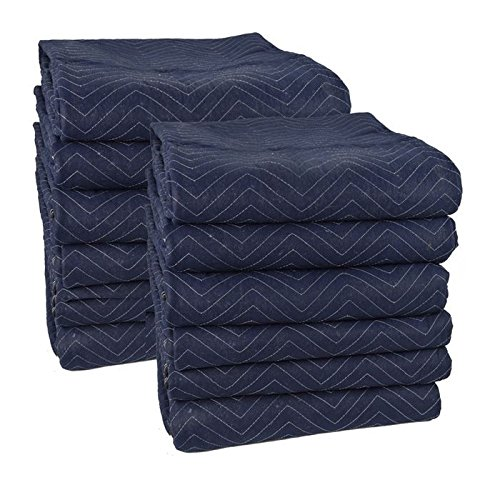 Cheap Cheap Moving Boxes 72 x 80 Inches Pro Moving Blankets, Pack of 12, Blue/Black (MB104)