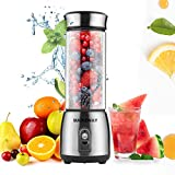 Personal Portable Mini Blender,MAIKEWAY Cordless Small USB Rechargeable Single Server Fruit Juicer for Shakes and Smoothies,Double Wall Glass Bottle 400ml Great for Home Travel Office