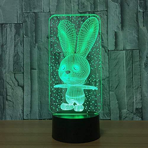 Accessoires De Jeu Pour Lampes De Jeu De Bureau Lampe De Table Lapin 7 Couleurs Lampe De Bureau Changeante Lampe 3D Nouveauté Led Veilleuses Led Lumière Avec Télécommande