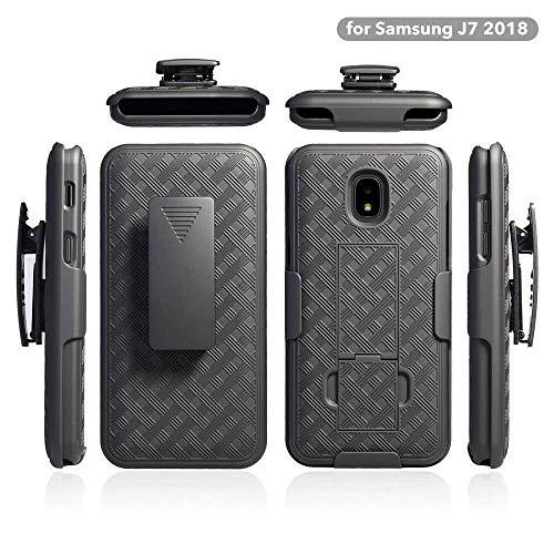 ZASE Belt Clip Holster Case for Samsung J7 2018, J7 Refine, J7 AERO, J7 TOP, J7 Star Tough Slim Rugged Protective Black Case Armor Defender Swivel Lock Kickstand (A Holster Combo Case)