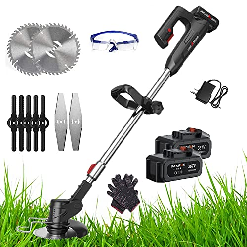 Strimmer Cordless Electric Garden 48v Battery Metal Blade & Grass Trimmer Cordless Edger Cutter With Electric Lithium Battery Brush Cutter Rechargeable With 9 Replacement Blade ,48V*2battery