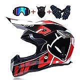 NNYY Motocross Casco, Moto Caschi Moto Cross UFO Mask Set con Occhiali Guanti, Caschi Moto off-Road Sport Enduro Downhill MTB BMX ATV del Casco,M