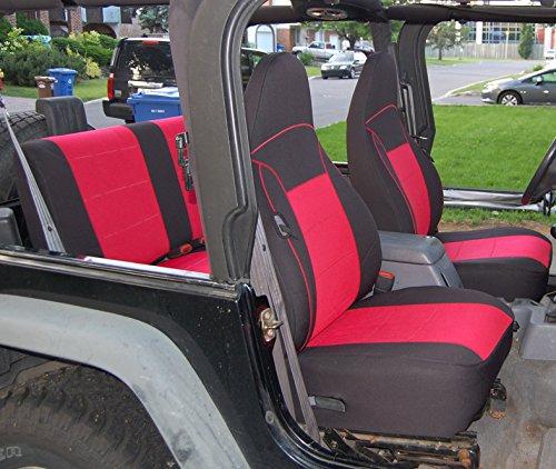 GEARFLAG Neoprene Seat Cover Custom fits Wrangler TJ 1997-02 Full Set (Front + Rear Seats) (Red/Black)
