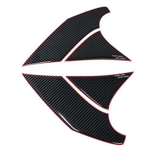 Kniepad Gel Neon seitlich Motorrad 3D Universal Tankaufkleber Tankschutz Lackschutz Aufkleber Pad MR015 (Carbon Schwarz/Rot)