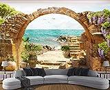Papier Peint Panoramique 3D Arche En Pierre De Jardin Avec Vue Sur La Mer Tapisserie Murales Salon Papier Peint Intissé Mural