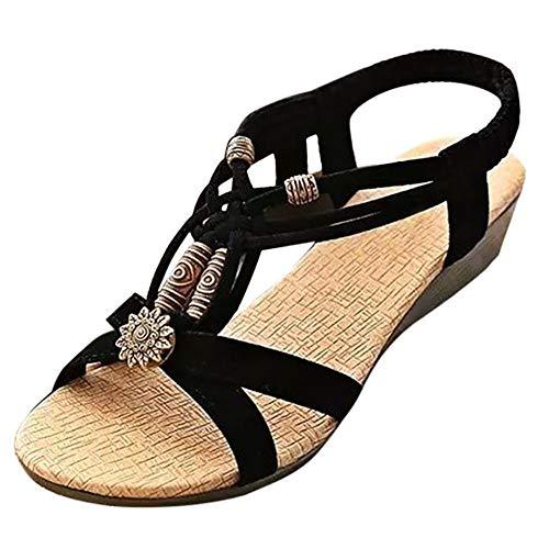 LWYY Damensandalen,Schwarze Sommerschuhe Mode Frauen Sandalen Elastic Band Beach Flat Mit Schnürsandalen Rom Weibliche Runde Zehen Schuhe, 35