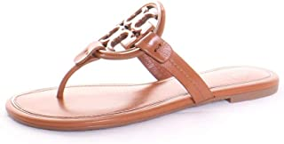 Miller Metal Logo Sandal, Tan/Rose Gold