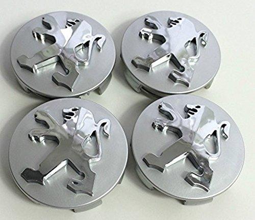 Lot de 4 cache-moyeux de haute qualité en alliage pour Peugeot 106 107 206 207 306 307 506 507 108 208 308 Gris 60 mm