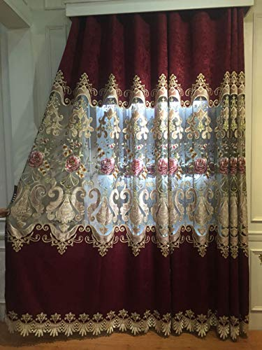 ZZCZZC European Style Chenille Embroidered Curtains Rich Embroidery 96 Inches Long Room Darkening Grommet Drapes for Living Room Bedroom Thermal Insulated Window Treatments 2 Panels Each W52 L96 Inch