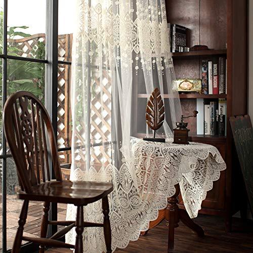Cortina transparente bordada blanca,panel de cortina transparente de estilo europeo,cortina de encaje de dormitorio, para sala de estar/ventana/estudio/1pcs