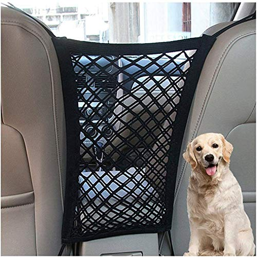 DYKESON Pet Barrier Dog Car Net Barrier with Auto Safety Mesh Organizer Baby Stretchable Storage Bag Universal for Cars, SUVs -Easy Install,Safer to Drive with Children and Pets