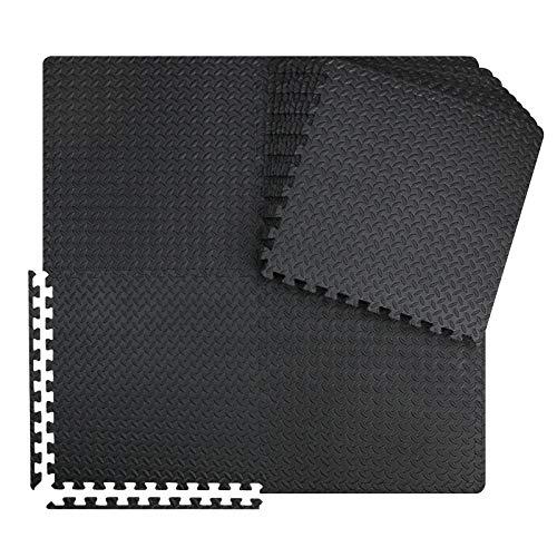 innhom 12 Black Tiles Gym Mats Puzzle Exercise Mat Interlocking Foam Mats Protective Flooring Mats with EVA Foam Floor Tiles for Gym Equipment Workouts