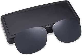 Clip on Sunglasses Over Prescription Glasses for Women Men Polarized Flip up Sunglasses with Case