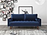 Container Furniture Direct S5455 Mid Century Modern Velvet Upholstered Tufted Living Room Sofa, 69.68', Space Blu
